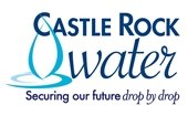Castle Rock Water logo with water drop illustration
