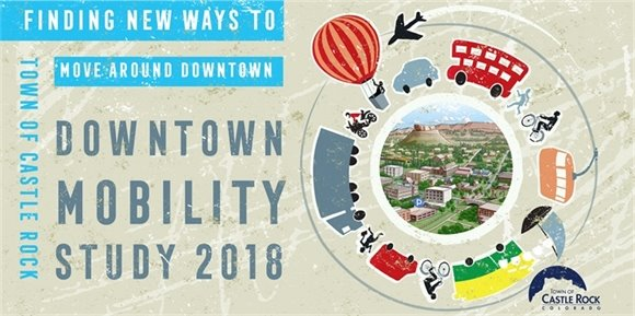 Graphic with modes of transportation and cartoon of downtown