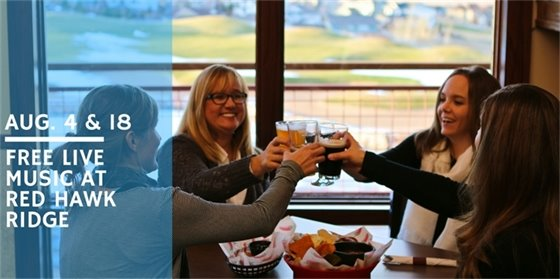 Enjoy happy hour and live music at Red Hawk Ridge Golf Course